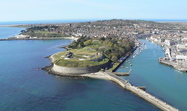 aerial view of nothe fort in weymouth