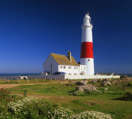 red and white striped portland bill lighthouse