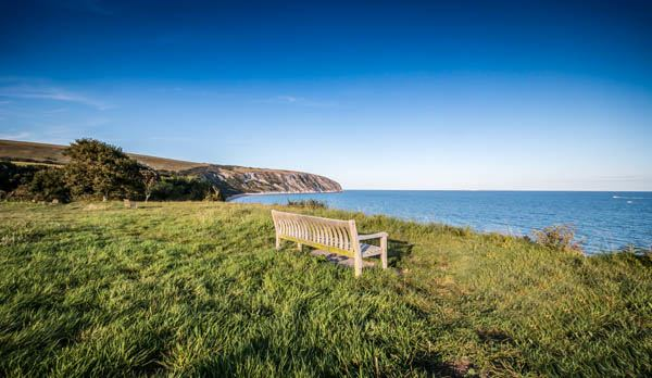 White-Sands-Pet-Friendly-Sea-View-Swanage-bench-on-cliff-1