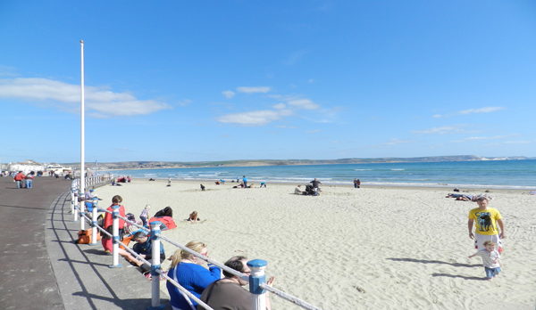People sitting on weymouth beach