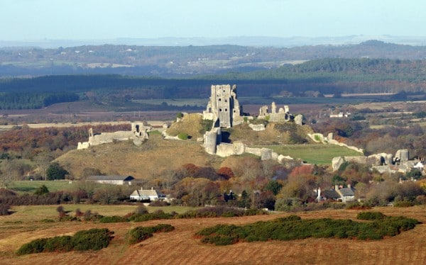 view of corfe castle from kingston