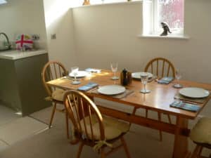 holiday cottage dining table before being prepared